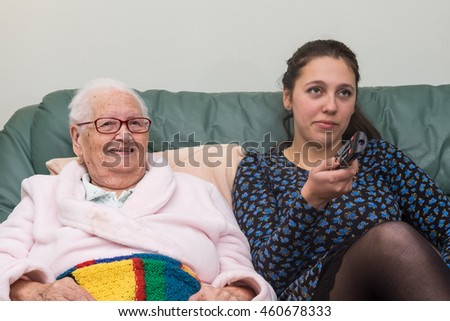 Old Lady Pink Dressing Gown Has Stock Photo (Edit Now) 460678333 ...
