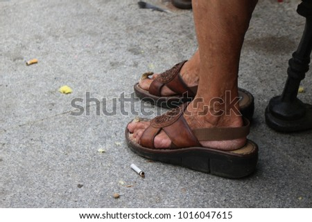 454408423466 Old Lady Wearing Sandals Nails Sticking Stock Photo (Edit Now ...