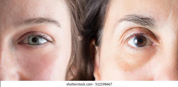 Old lady and young girl eyes