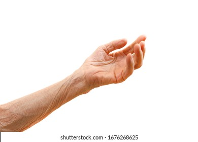Old lady's hand with open palm. Elderly lady is waiting for help. Elderly, Aging concept, with white background. Isolated white background, close up, overhead, copy space.