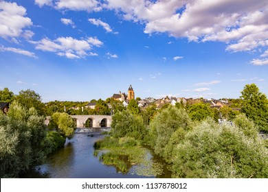 old lahn bridge and view to famous Dome of Wetzlar, Germany
