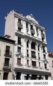 Old landmark at Plaza Santa Ana in Madrid, Spain