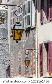 Old lanterns on street of old town of Annecy, France