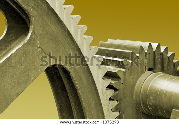Old large industrial gears with clipping path.
