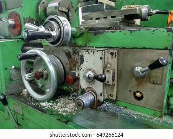 Old lathe. Lathe control panel. Selective focus.