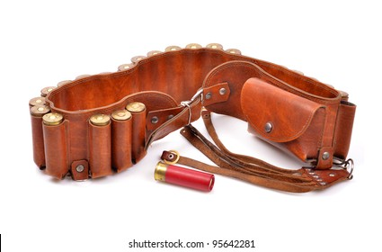 Old leather bandolier on a white background,single cartridge