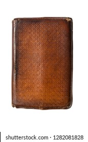 old leather bound book isolated on white