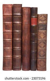 Old leather bound books