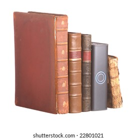 Old leather bound books and hard drive
