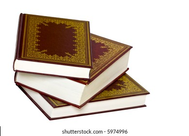 Old leather bound decorative books isolated on a white background