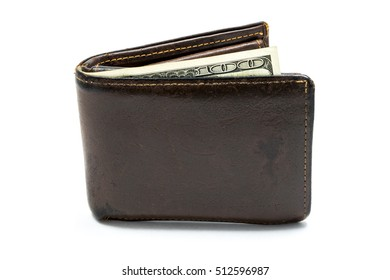 Old leather brown wallet with one  hundred dollars banknote isolated on white background