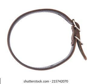 Old leather dog-collar isolated over the white background, top view above