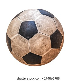 old leather soccer ball isolated on white