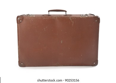 old leather suitcase on white