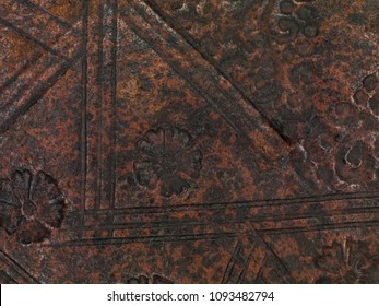 Old leather-bound book (detail of the cover).