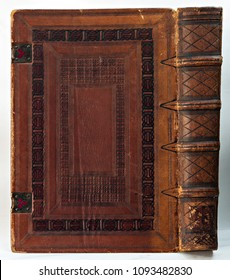 Old leather-bound book (detail of the cover and the spine).