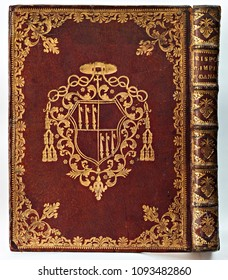 Old leather-bound book (with cover and spine gilded).