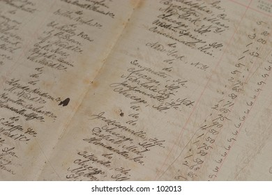 An old ledger from a long time ago, with a fairly shallow depth of field.