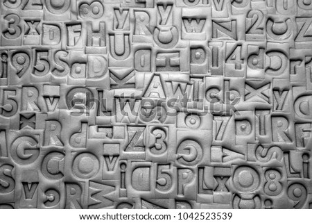 old letterpress blocks background imprinted modeling stock photo