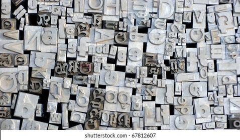 Old letterpress German letters from a flea market