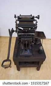 an old letterpress machine in good working condition