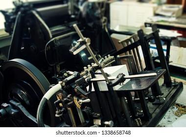 Old letterpress print paper color machine