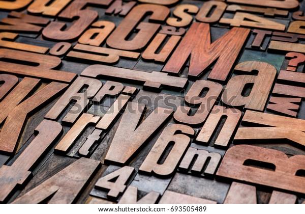 Old letterpress wood type printing blocks