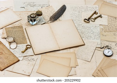 old letters, antique accessories and office tools. nostalgic sentimental paper background