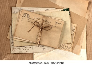 old letters and french post cards. vintage background