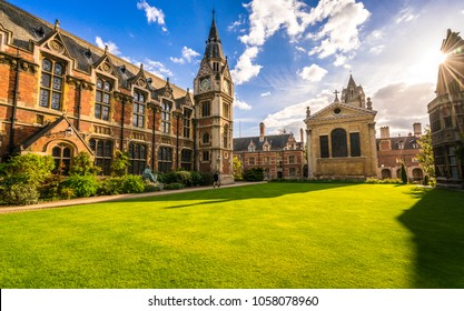 The old library and clock tower in Cambridge, England