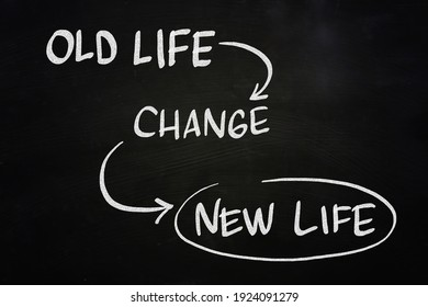 Old life new life, text words typography written on chalkboard background, life and business change motivational inspirational concept