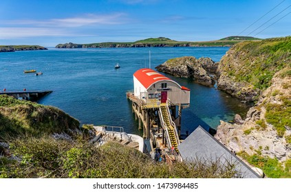 "The old (""original"") lifeboat station on St Justinians' on the Pembrokeshire coast. This building is now listed, and hence protected"