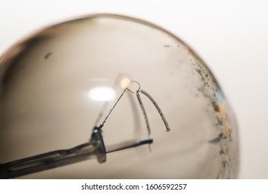 old light bulb burned inside