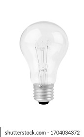 Old Light bulb close up on white background
