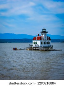 Old light house on Hudson River in Upstate NY