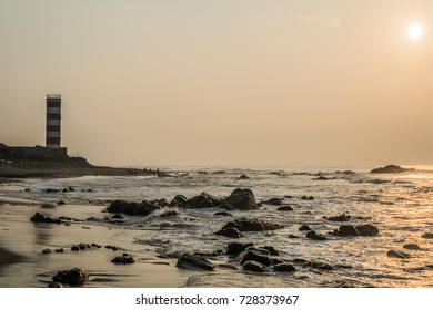 an old light house in visakhapatnam in the early hours of the day.
