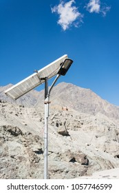 Old light lame with solar cell for generate the electric stand in rural aread of high mountain, Leh Ladakh - India