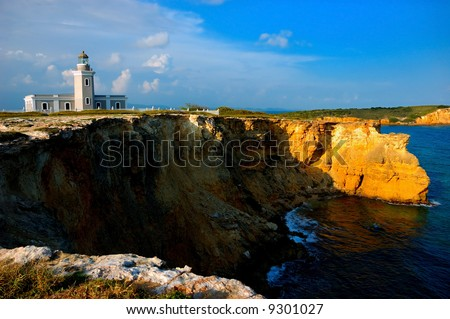 Old lighthouse in Bahia Sucia, Cabo Rojo, Puerto Rico. Typical spanish colonial architectural style.