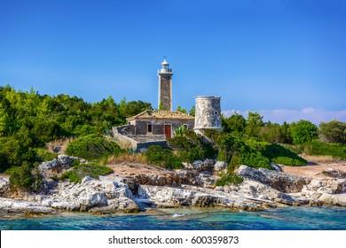 Old lighthouse in Fiscardo, Kefalonia Greece