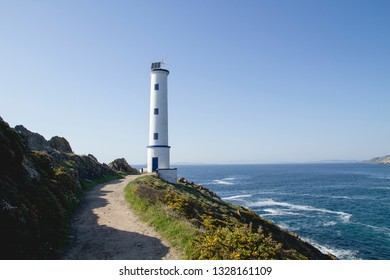 Old lighthouse in galician coastline