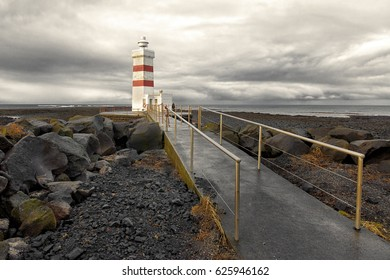 The old lighthouse in Gardur, Iceland