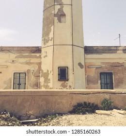 Old lighthouse of Lampedusa, Sicilia, Italy.