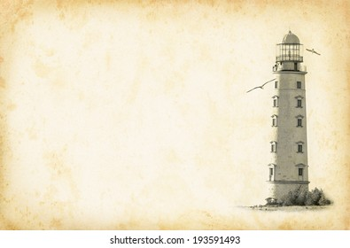 Old lighthouse on vintage background in the grunge style. Nautical texture background with a lighthouse tower for the retro concept of sea vacation.