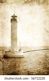 Old lighthouse. Photo in vintage image style.