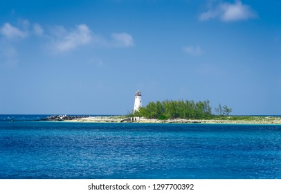 Old lighthouse sits on the tip of Paradise Island in Nassau, Bahamas