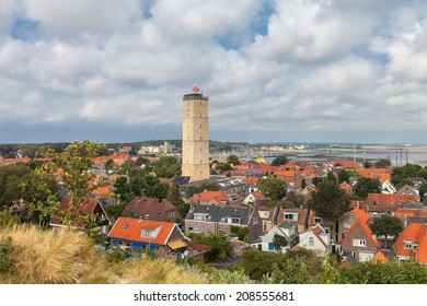 Old lighthouse in a small village on the island Terschelling in the Netherlands