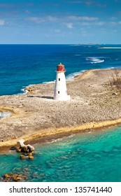 Old lighthouse that sits at the tip of Paradise Island in Nassau, Bahamas