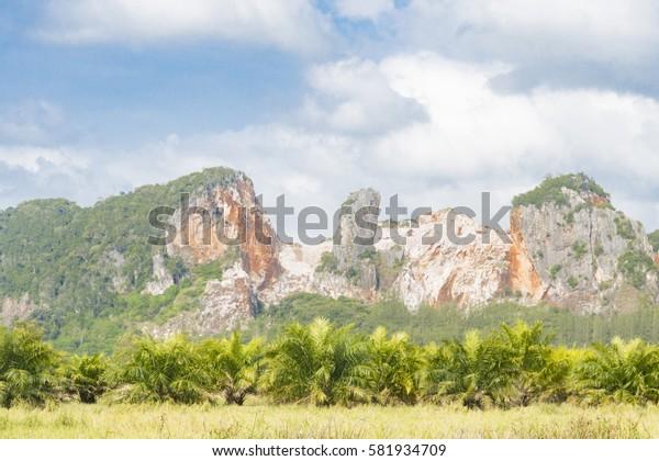 Old limestone mining, side hill cut method.