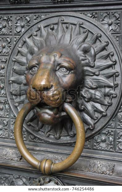 Old lion shape door knocker