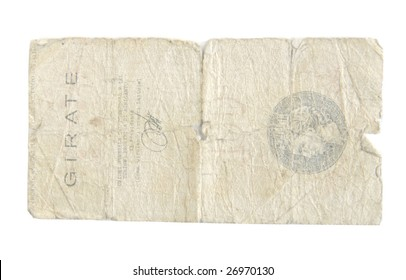 Old Lire bills from Italy isolated on white.
